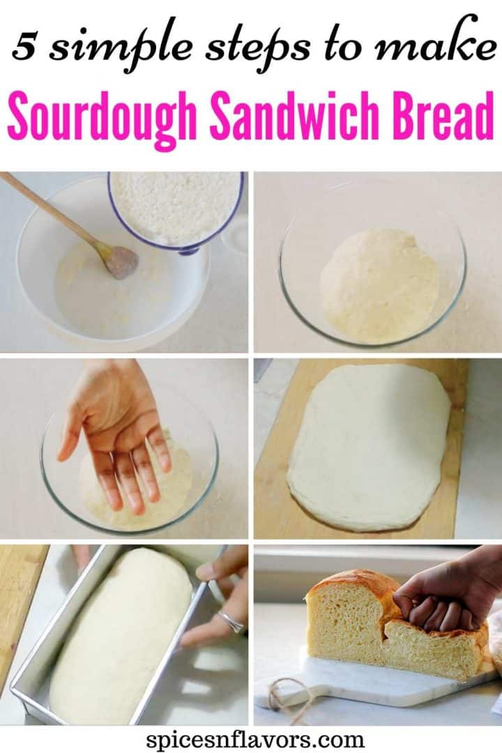 a collage of steps to make the bread for pinterest