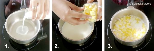 heating butter and milk in a saucepan