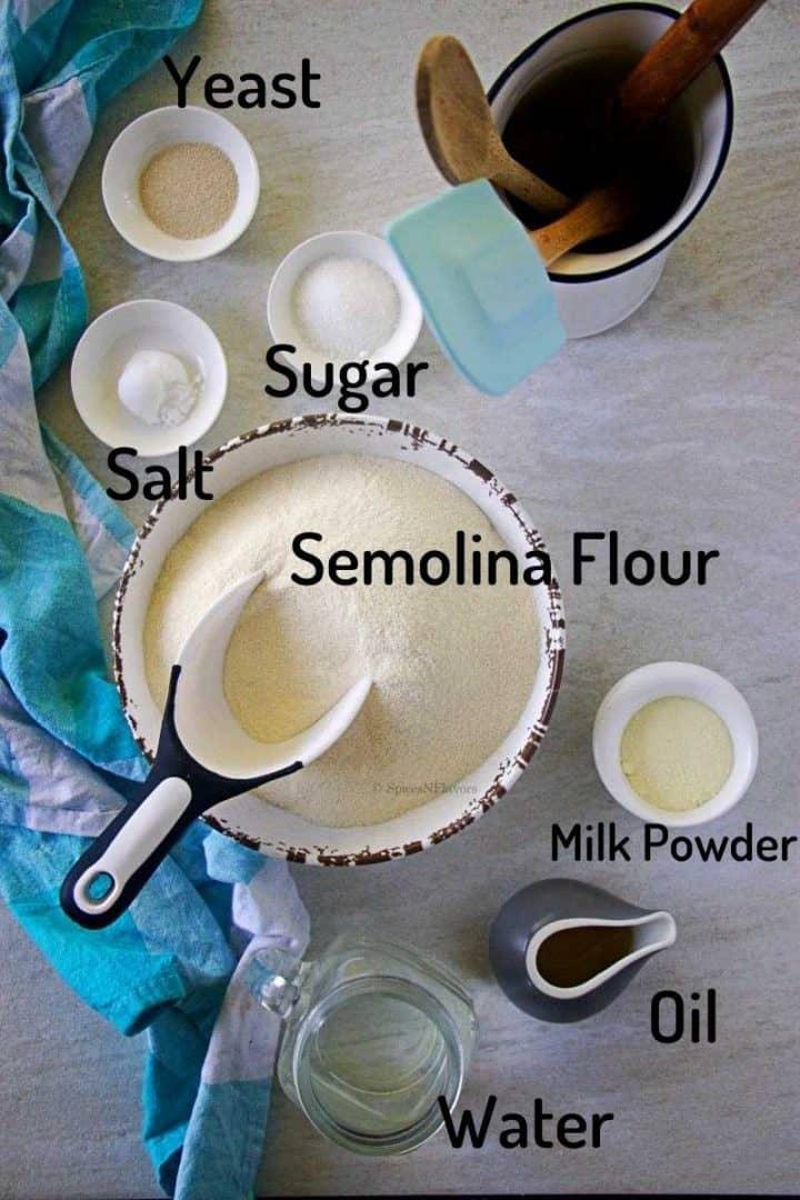ingredients needed to make semolina bread