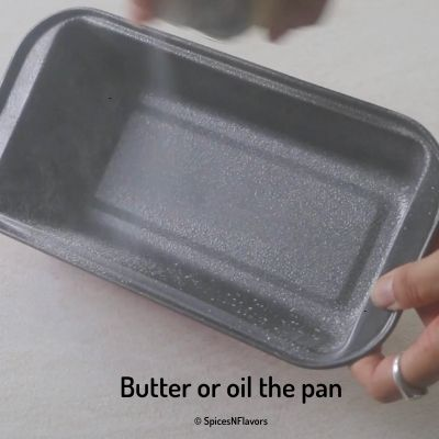 oil or butter the cake pan