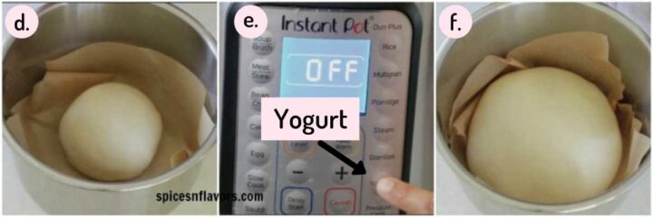 collage of steps explaining how to proof dough in Instant Pot