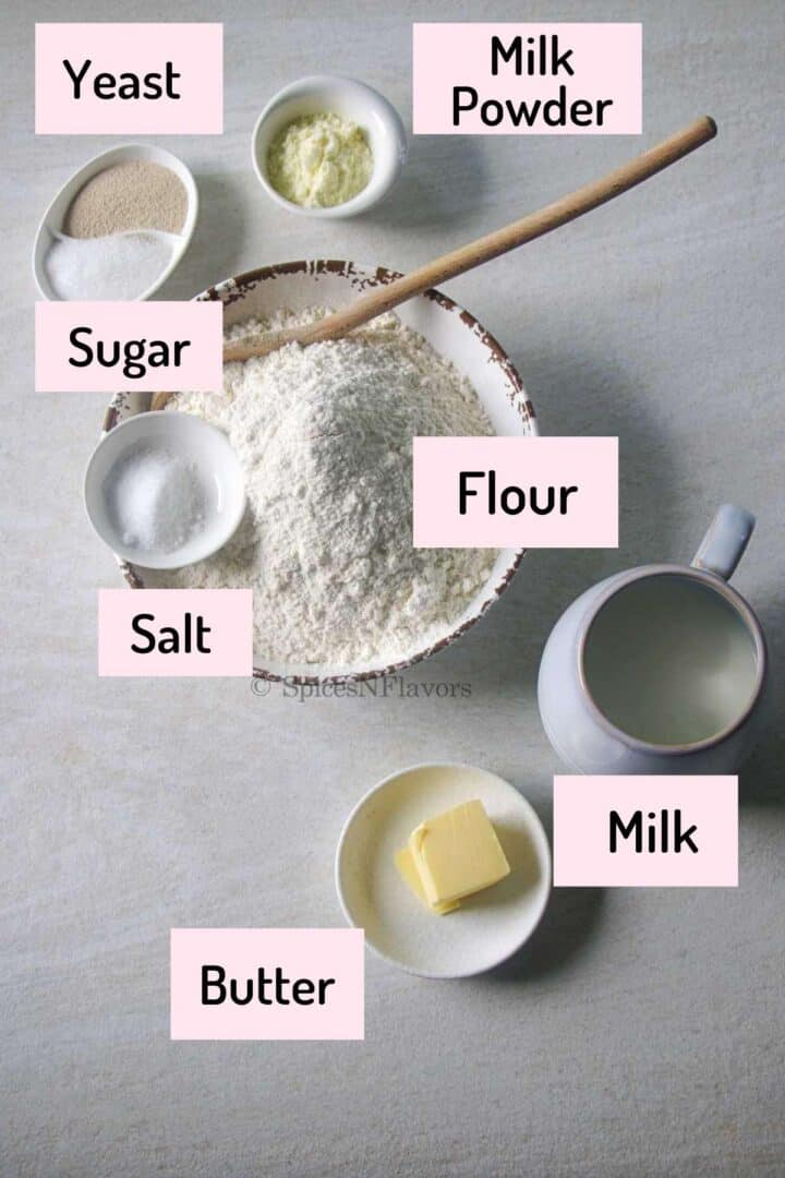 ingredients needed to make the pav placed on a white marble