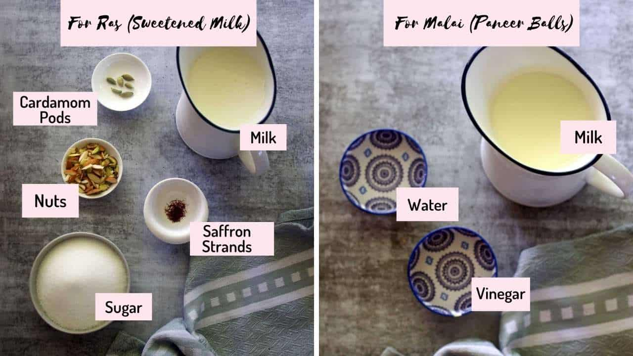 ingredients needed to make the ras and malai are placed on a marble background