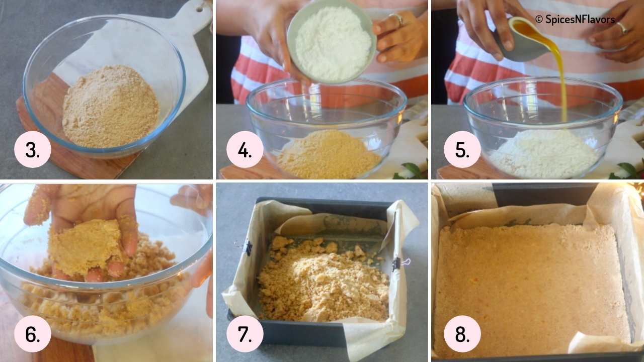 collage of images to show how to make biscuit layer