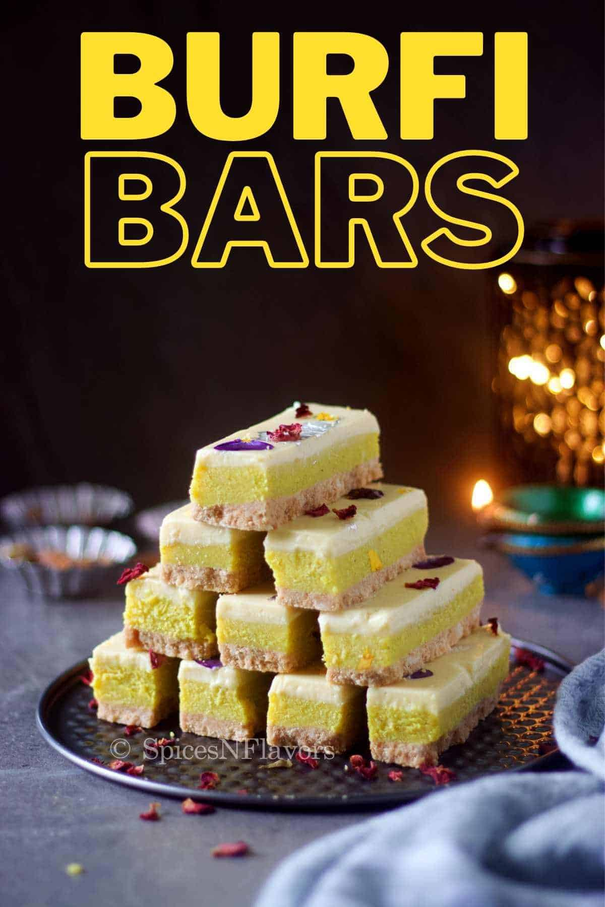 milk powder burfi bars stacked on one top of the other to form a pyramid