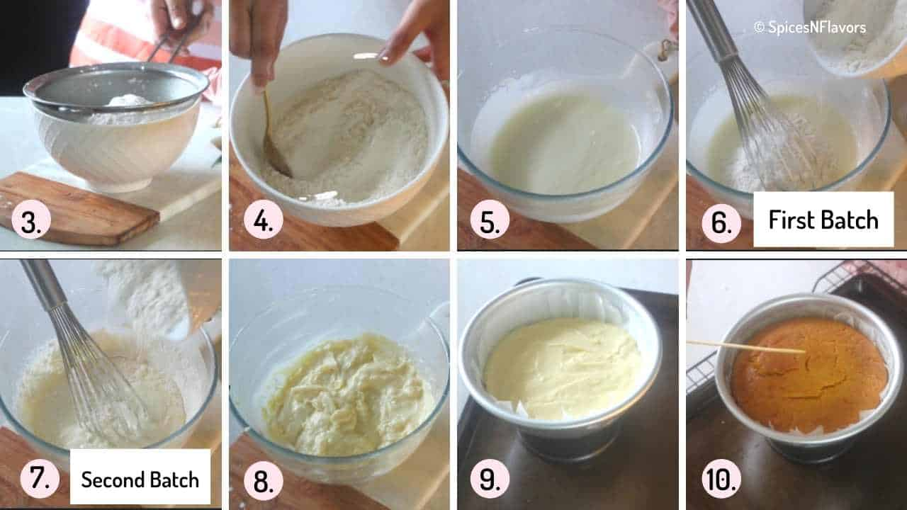 collage of images to prepare the cake batter