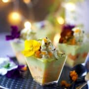 close up image of rasmalai trifle shot glass