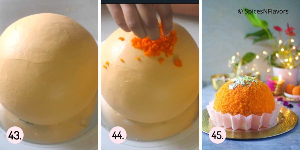 collage of steps to final frosting of the cake