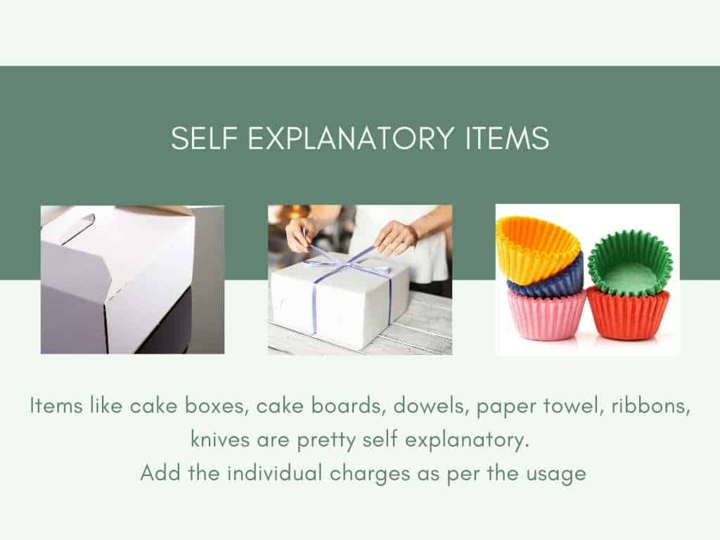 image of cake board, cake box, cupcake liners included in the self explanatory category for cake pricing