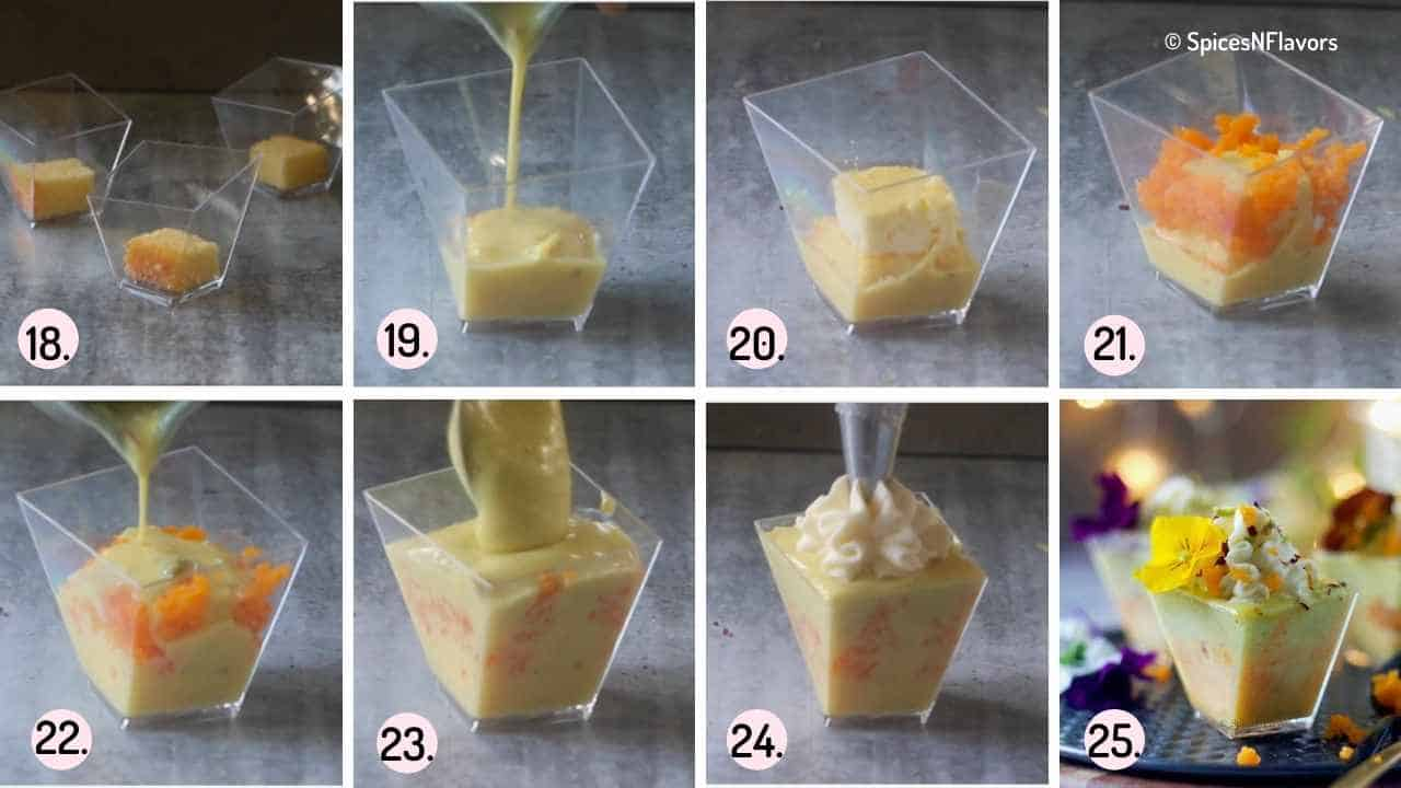 collage of steps showing how to assemble the trifle