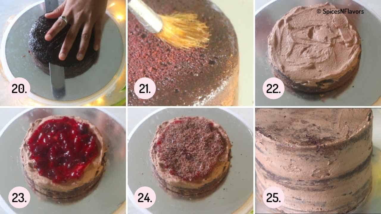 collage of steps explaining how to assemble the cake