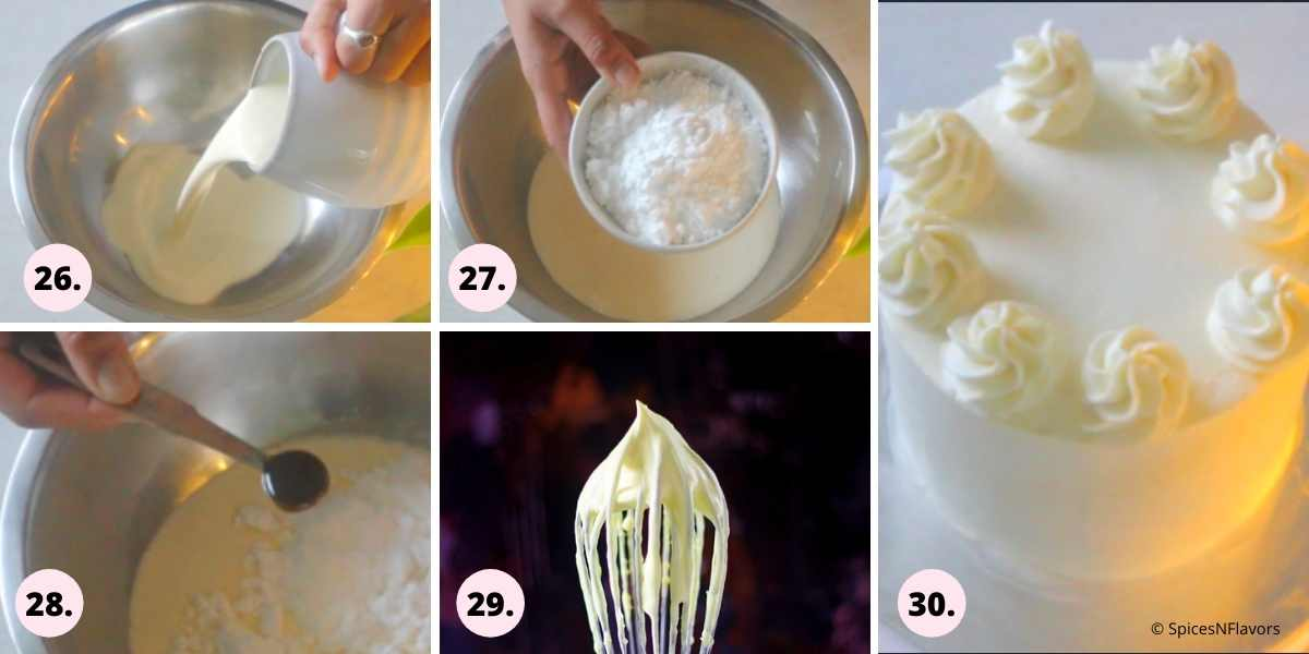 collage of steps explaining how to make chantilly whipped cream