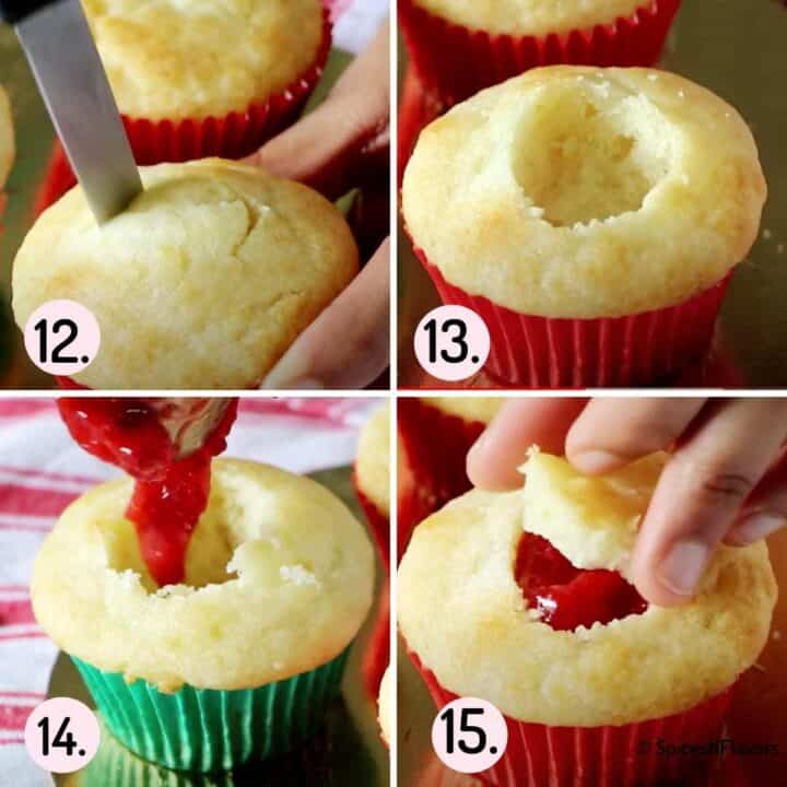 collage of images explaining how to core cupcakes