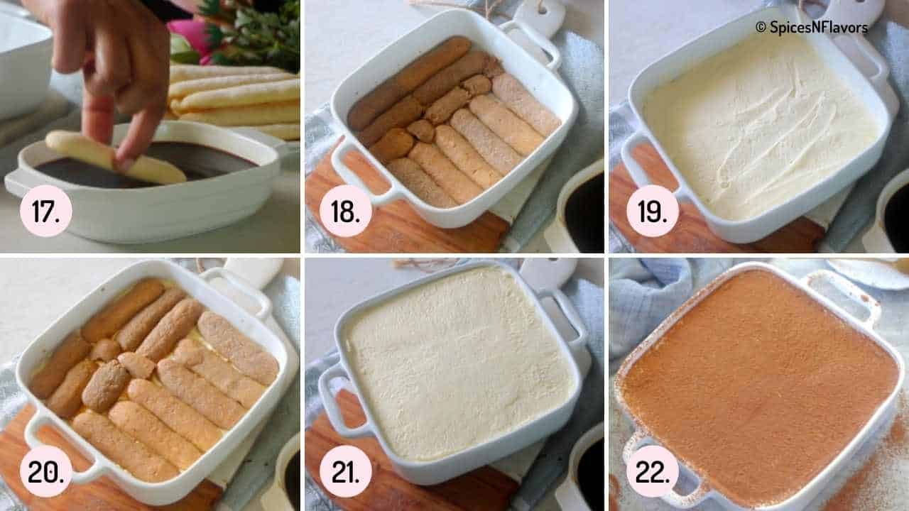 steps explaining how to assemble eggless tiramisu