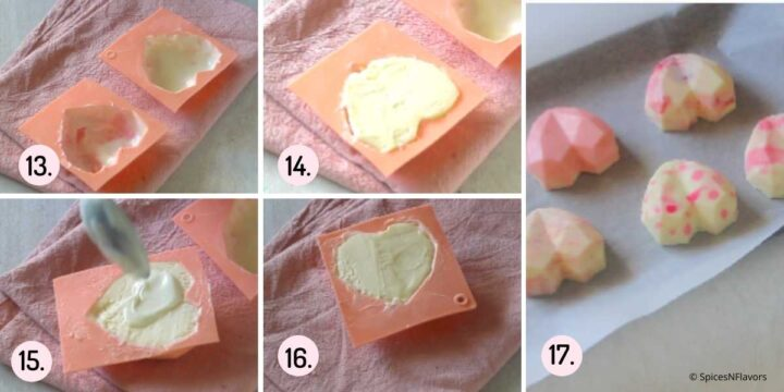 collage of steps explaining how to make chocolate shells