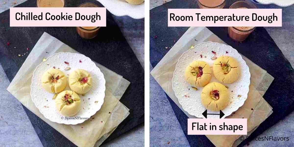 image showing comparison of baked cookie using dough that has been chilled and at room temperature