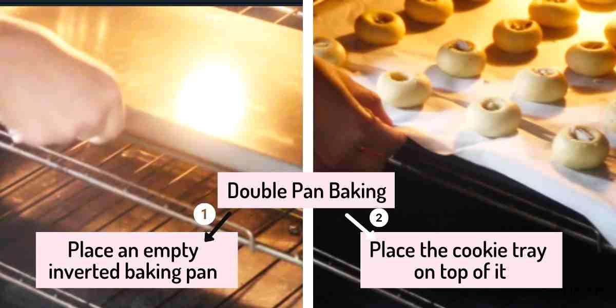 collage of image explaining double pan method of baking