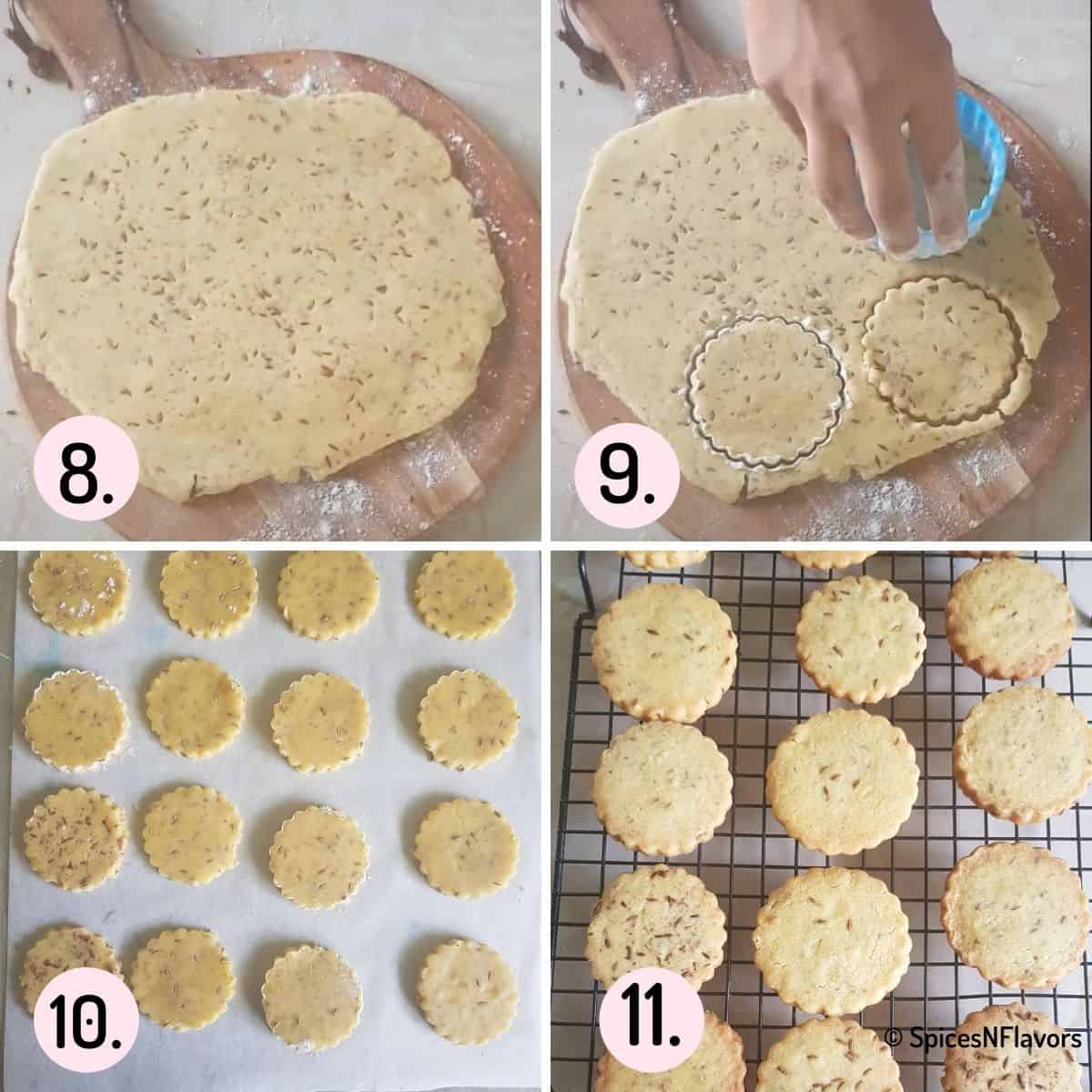 collage of steps explaining how to roll and cut cookie dough