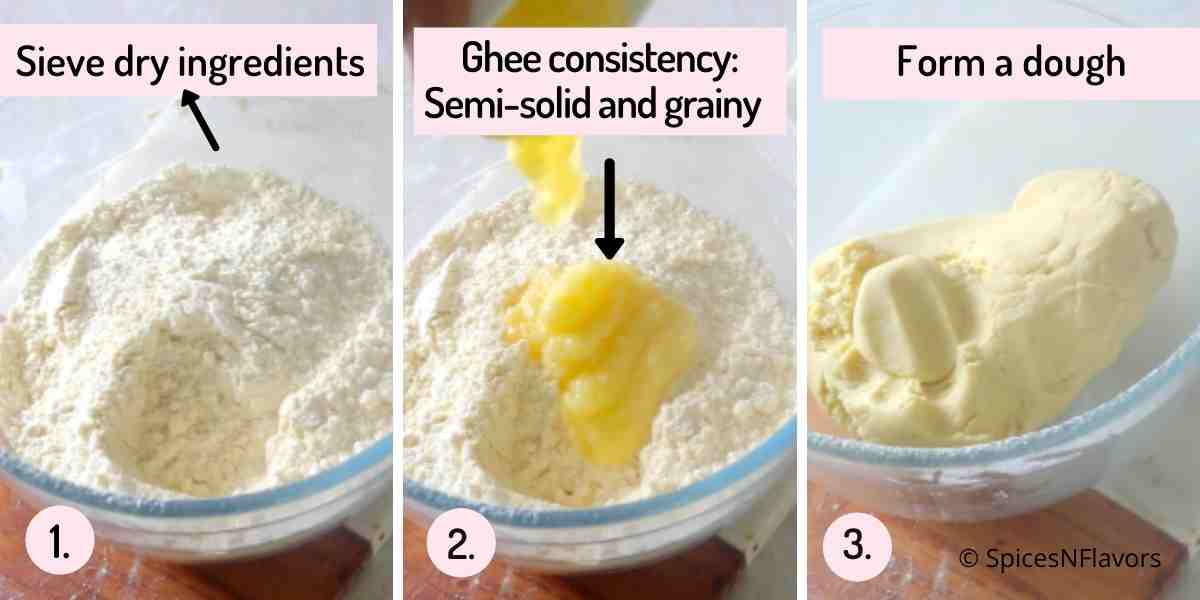 collage of image explaining how to form the cookie dough