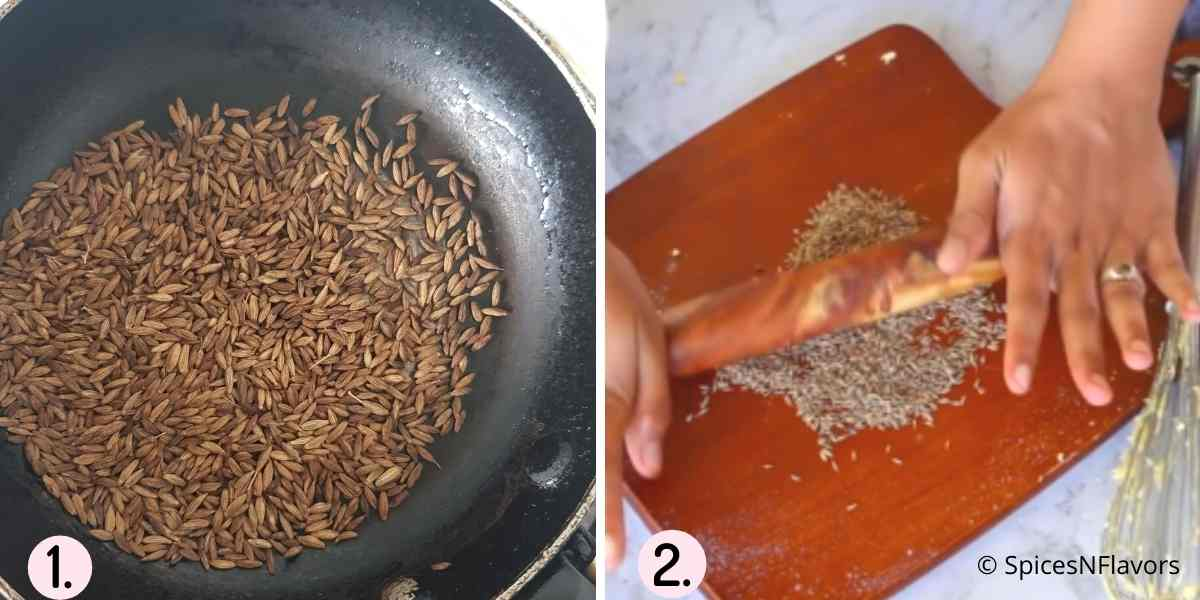 collage of images explaining how to roast and crush cumin seeds