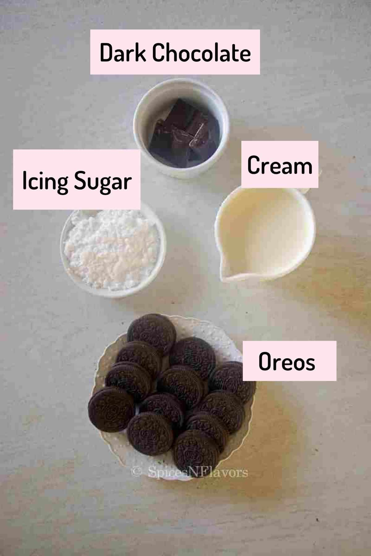 ingredients needed to make the mousse arranged in cups and plates