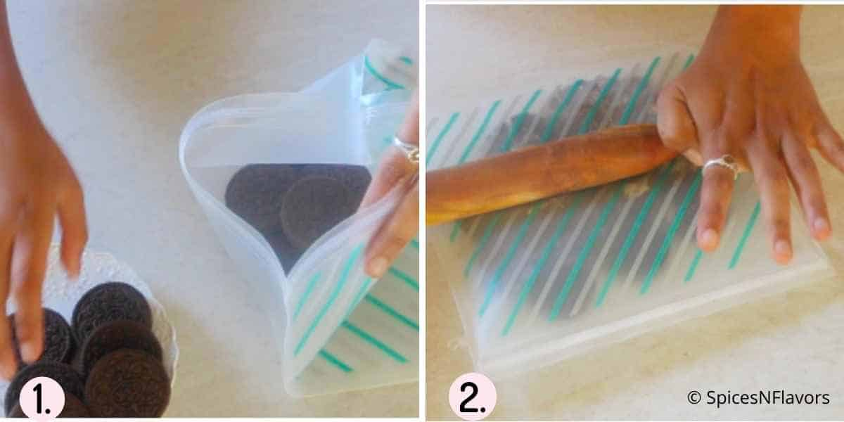crushing oreo cookies using a rolling pin in a zip lock bag