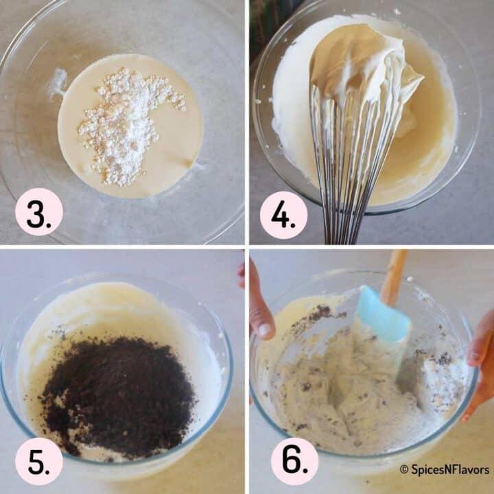 collage of steps explaining how to add crushed oreos to whipped cream