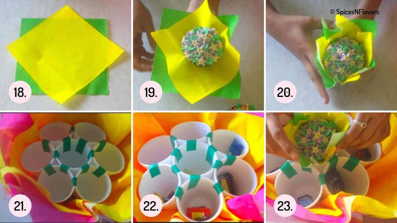 assembling the cupcake bouquet