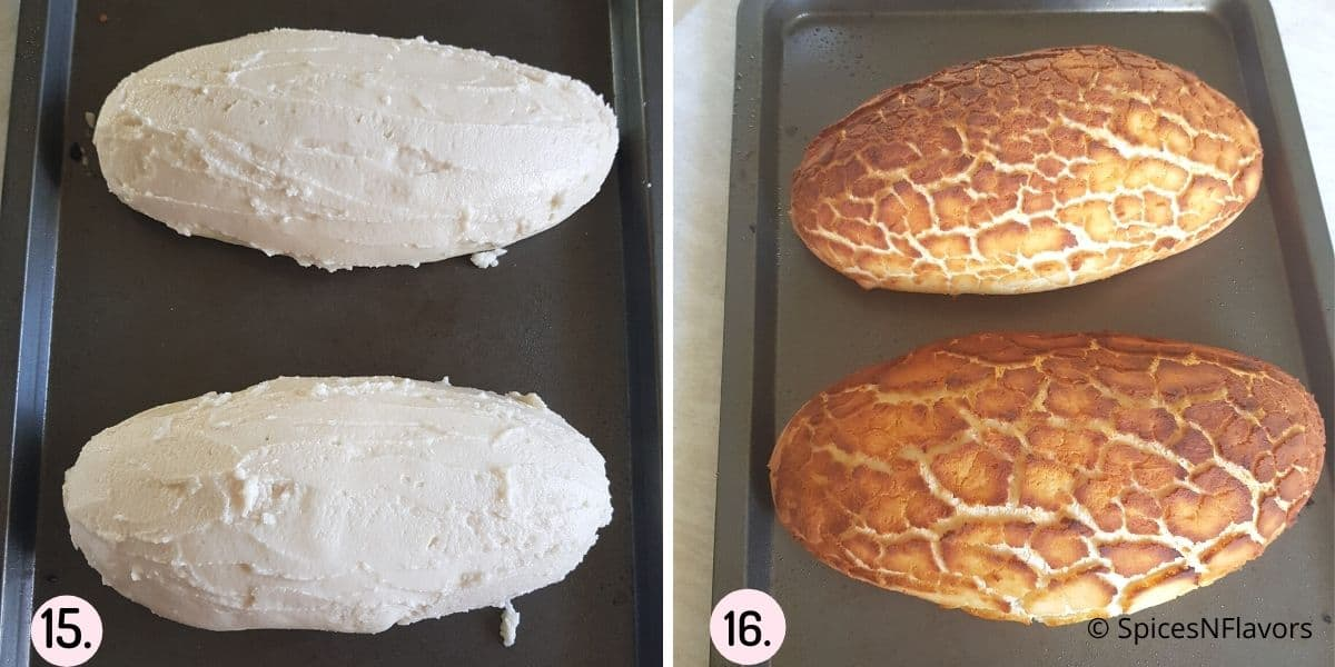 collage of images showing the bread before and after baking