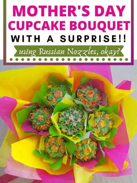 pin image of cupcake bouquet