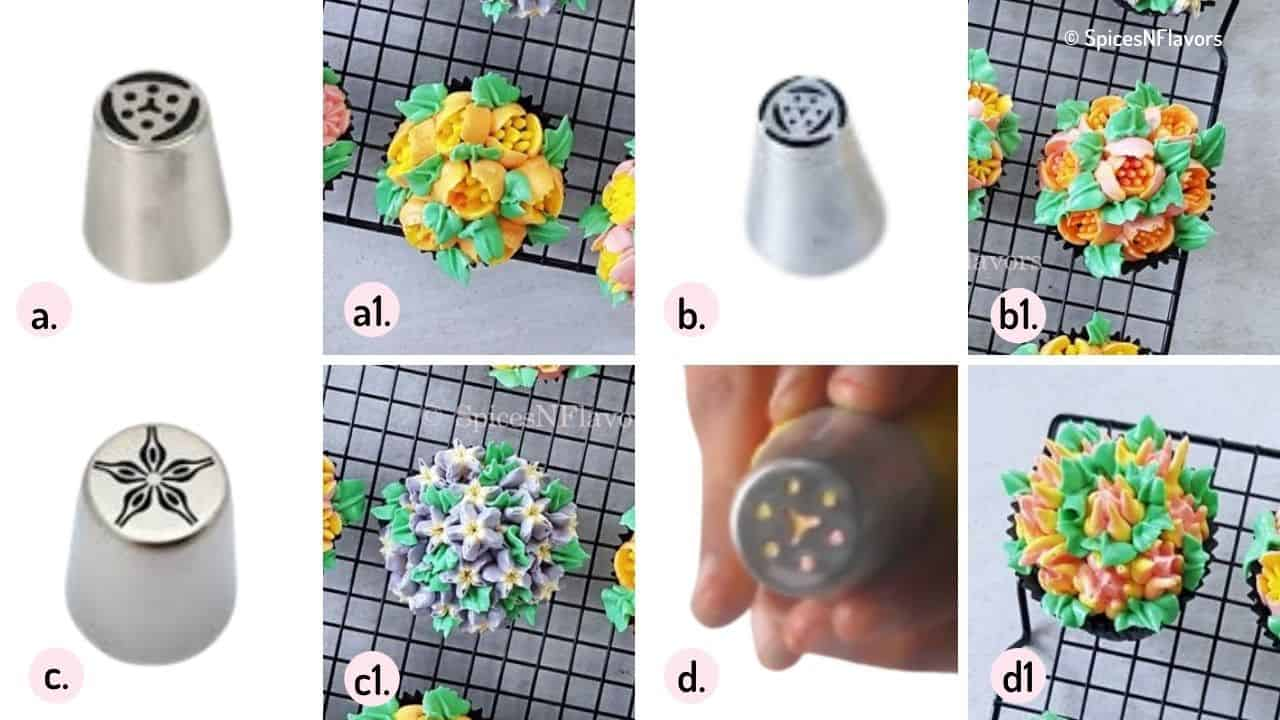 collage of images depicting russian nozzles swatch
