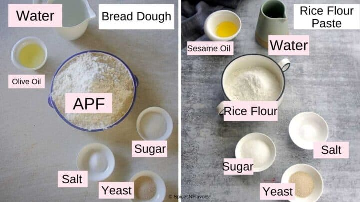 ingredients needed to make the bread dough and the rice flour paste