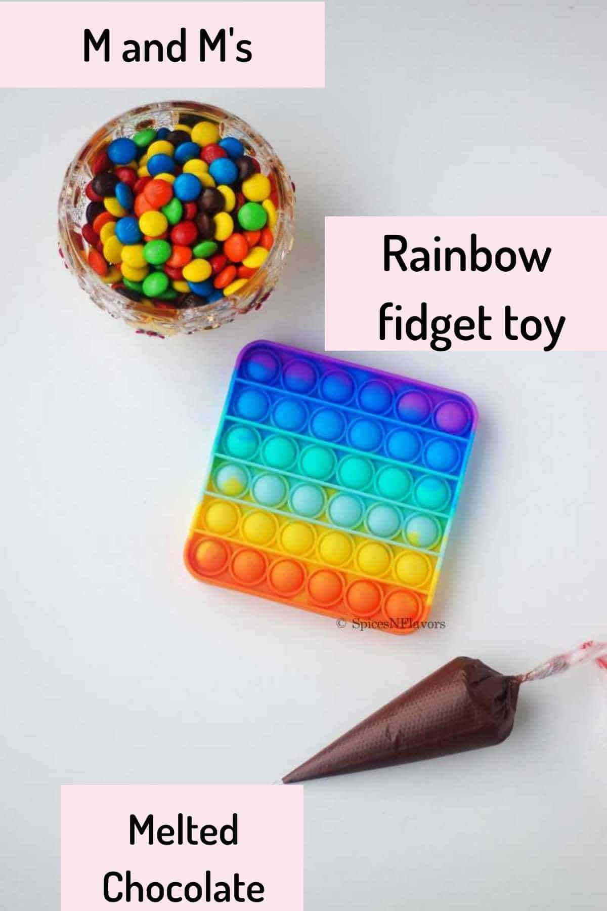 Things needed to make the Chocolate Pop it using the Rainbow Pop it Fidget Toy