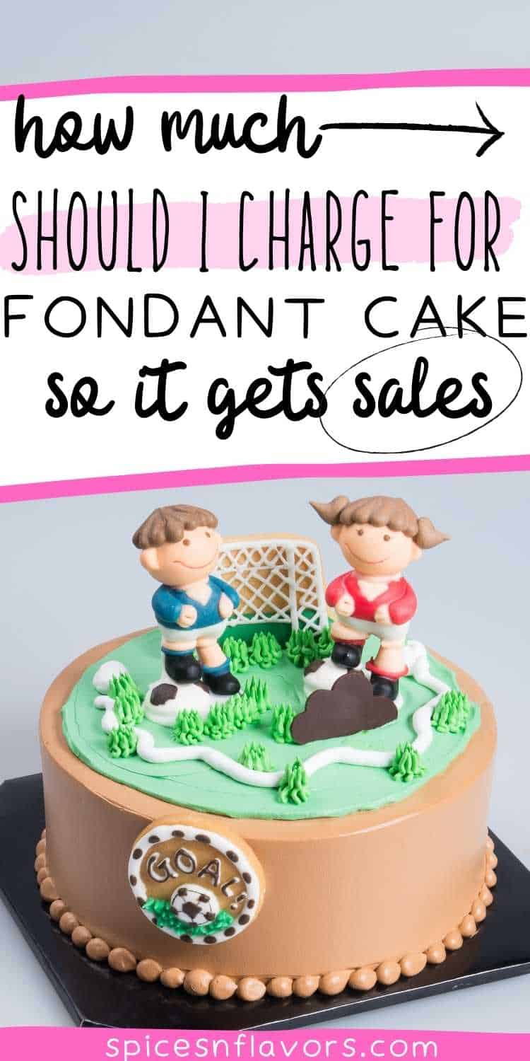 a fondant cake with text stating how to charge for fondant cakes