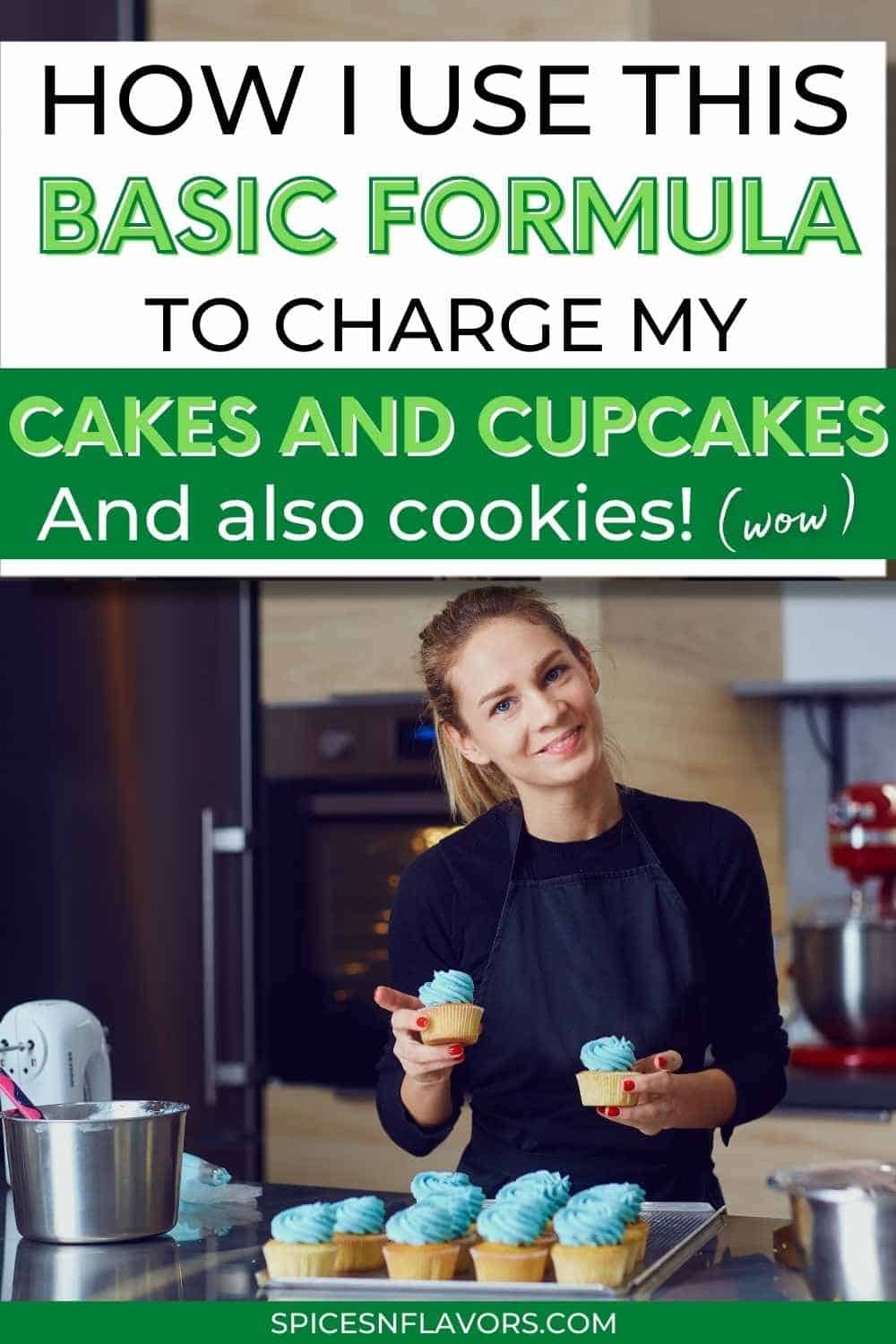 confident woman holding cupcake with text stating how to use the formula to calculate price of cake