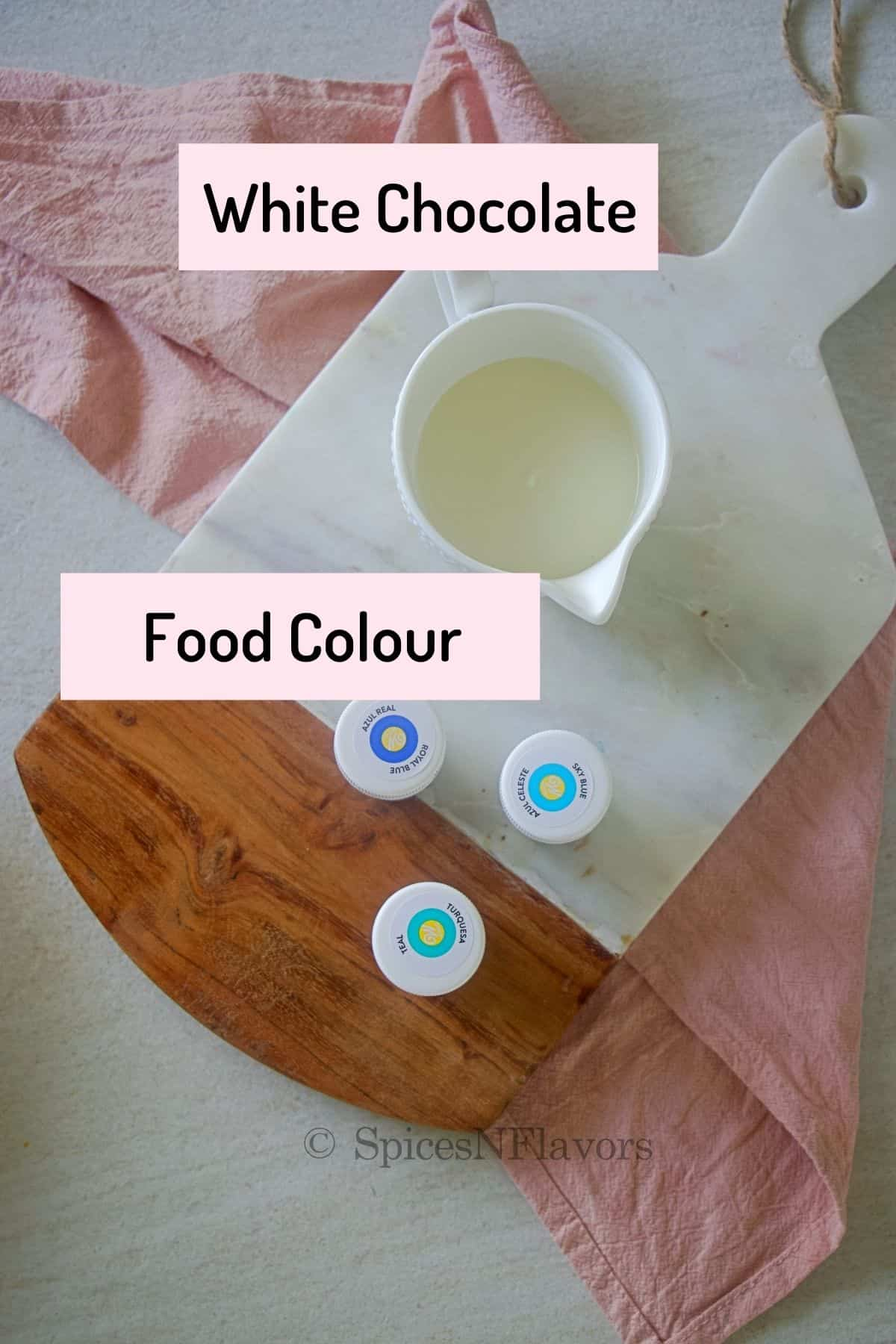ingredients needed to make the cake placed on a marble cutting board