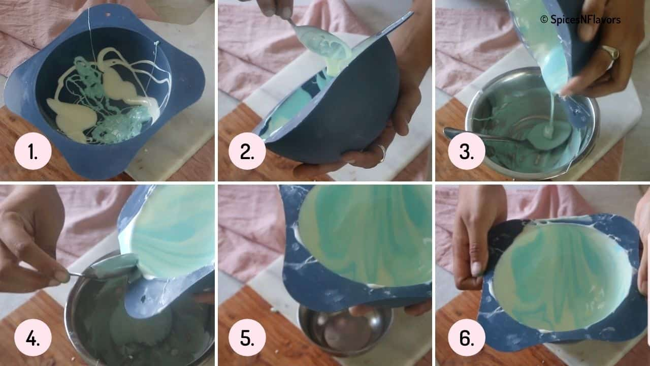 collage of steps showing how to coat the silicon mould with melted chocolate