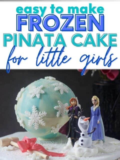 pin image of frozen pinata cake