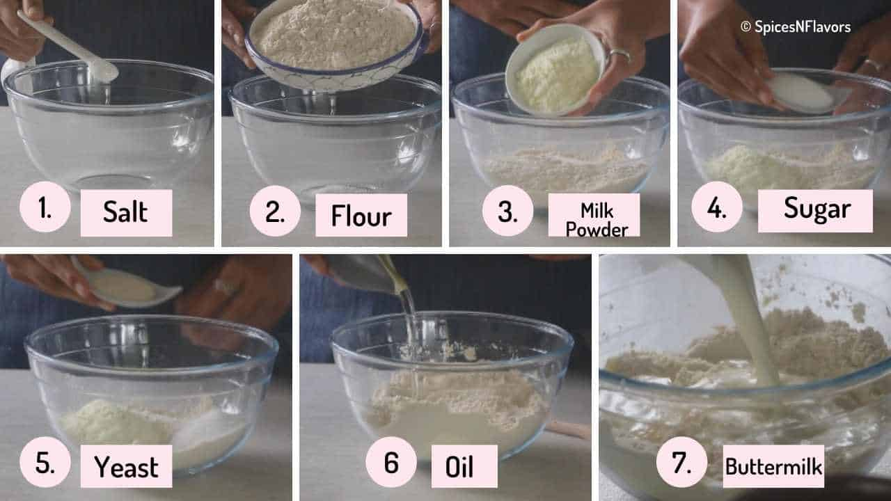 collage of steps showing addition of ingredients to the mixing bowl