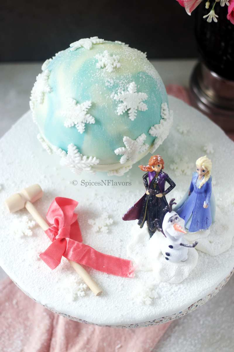 top view of the frozen pinata cake