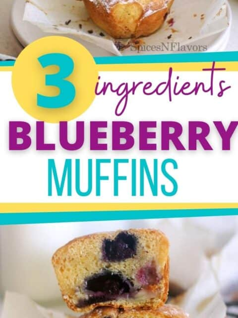 pin image for blueberry muffins