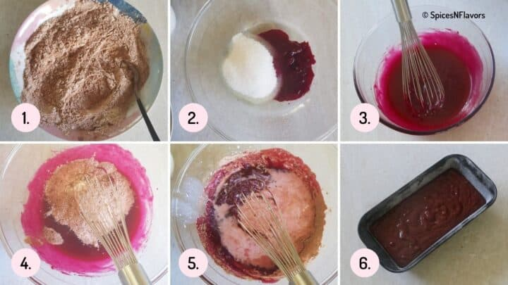 collage of steps showing how to form the chocolate beetroot cake batter