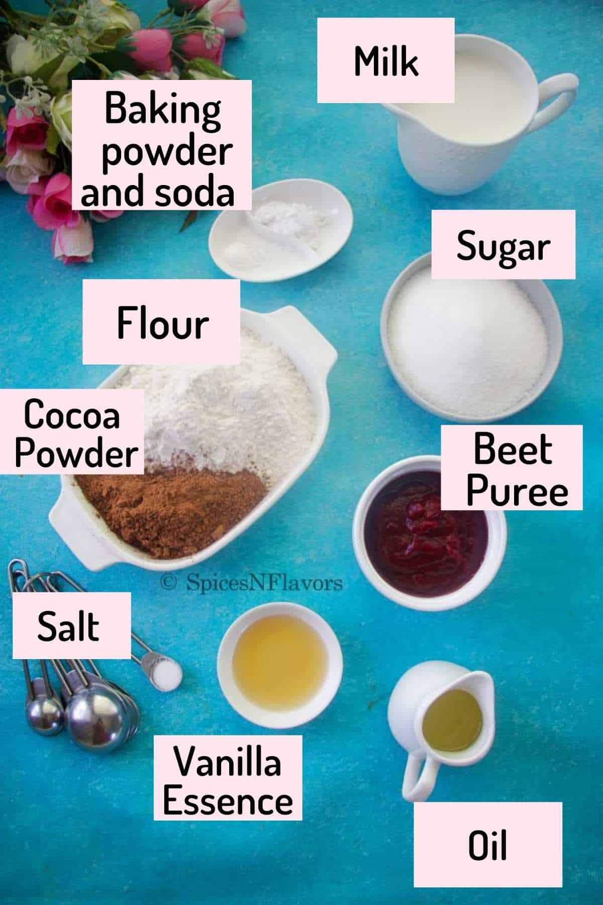ingredients needed to make the chocolate beet cake