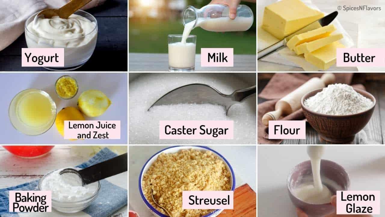 ingredients needed to make lemon muffins