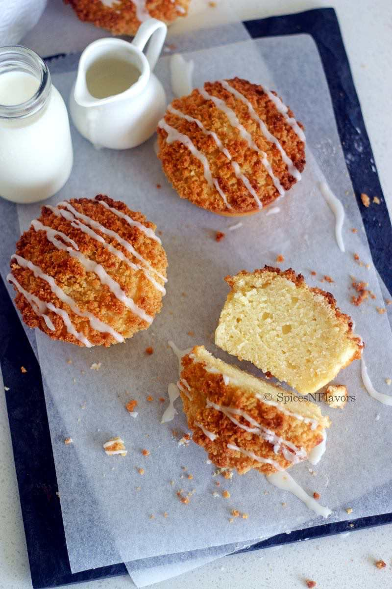 sliced image of lemon muffins to show the interior texture