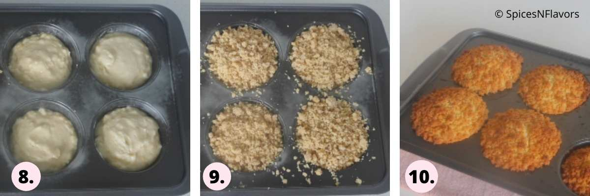 collage of steps showing muffin batter in the pan