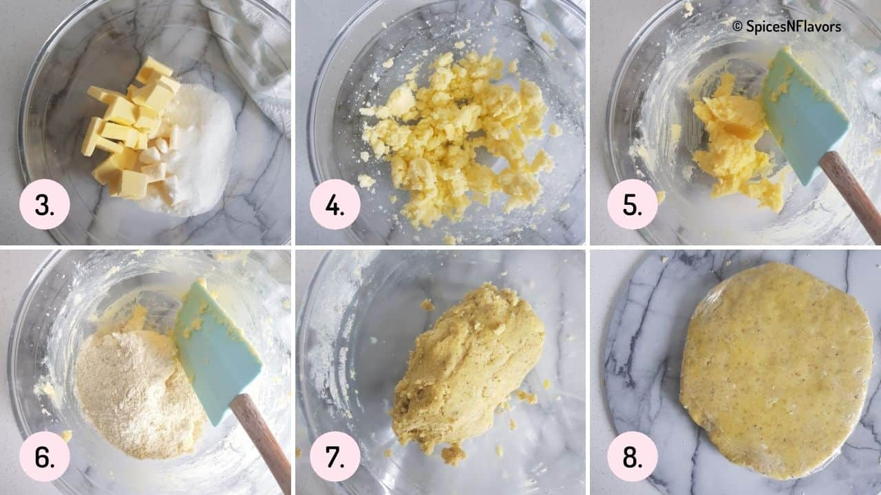 collage of steps explaining how to beat butter and sugar