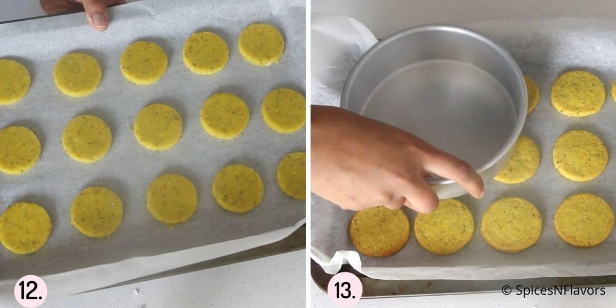 collage of steps showing the before baking and after baking of the cookies