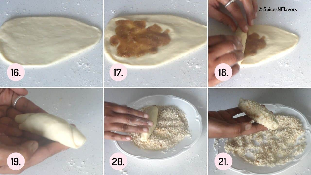 collage of steps showing how to shape the dough