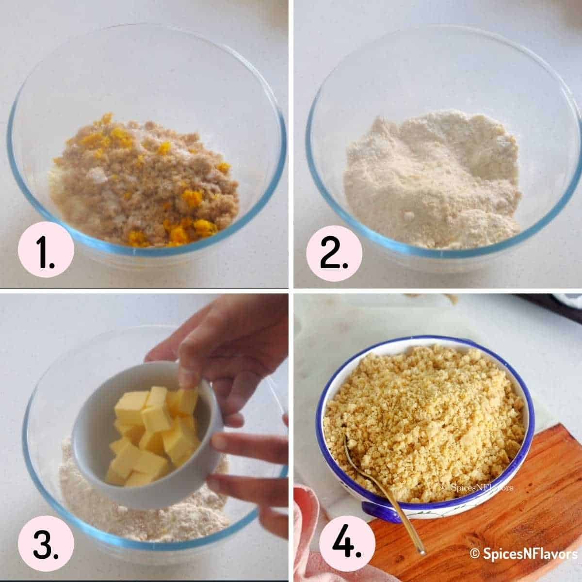 collage of steps explaining how to make streusel recipe